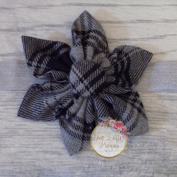 Large Plaid Black and Grey Fabric Flower Headband | Baby Girl | Hand Sewn