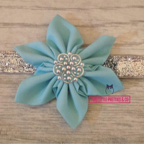 Large Light Teal Fabric Flower Headband | Baby Girl | Hand Sewn