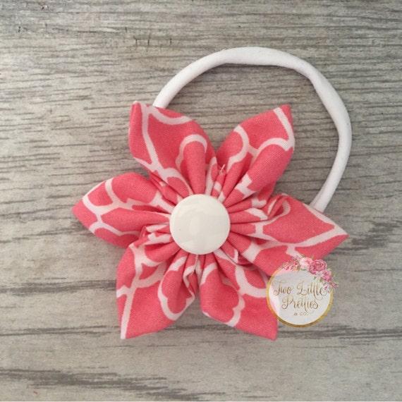 Large coral print fabric flower headband | baby girl | hand sewn