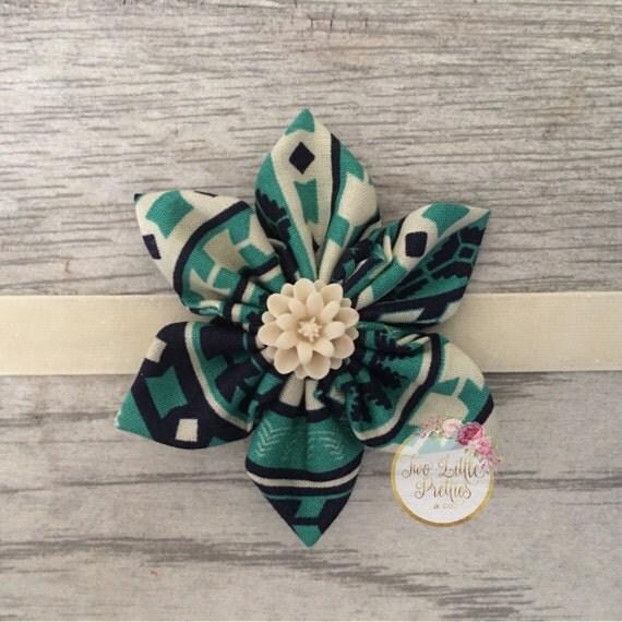 Large teal aztec fabric flower headband | baby girl | hand sewn