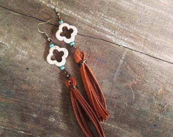 Rustic Western Earrings, Turquoise Fringe Leather Earrings
