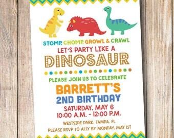 Dinosaur Birthday Party Invitation - 4x6 or 5x7 - Boy Birthday