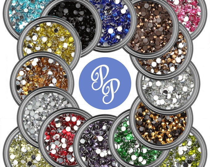 2mm Rhinestone Gems Flat Back Many Colors Nail Art DIY Phone Face Decoration