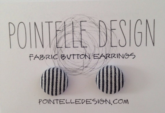 Button earrings nautical stripe patriotic fabric covered lightweight stainless steel posts