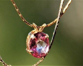 Simple Pink Topaz Pendant Gold chain pendant Precious topaz Gemstone pendant Precious topaz jewelry