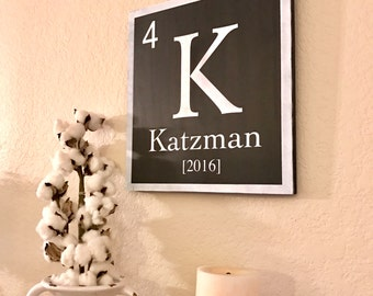 Periodic table Element Family Custom Name Sign Personalized Family Name Wood Sign