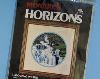 901) Monarch Horizons , Cascading Waters LS 16, Longstich Needle Kit, 10 1/2 Inch Finished Size, Persian Wool, New in Package
