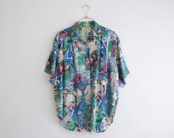 90s Oversized Blouse, Crazy Print Top, Painting Print Vintage Blouse, Button Up Shirt, Boho Top Size Medium Large