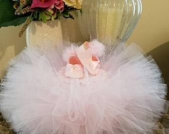 One Tier TuTu Diaper Cake /Baby Shower Centerpiece / TuTu Baby Shower / Baby Girl Diaper Cake