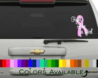 Fight Like A Girl Cancer Ribbon Car Decal