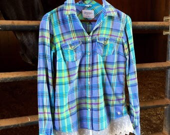 Plaid Upcycled Aeropostale Button Down with Lace Trim