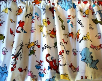 Valance Dr. Seuss Characters on White Background Window Treatment Topper  42 wide x 14 long Custom Made