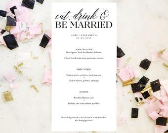 Wedding Menu Template, Instant Download, Printable Wedding Template, Eat Drink & Be Married, Rehearsal Dinner, Reception Menu