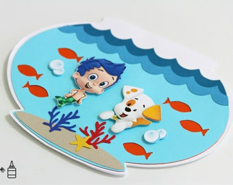 Bubble Guppies Invitations - Fish Bowl Invitation - Birthday - Blank Card - Thank You - Greeting Card - Custom Order Available - 10/pack