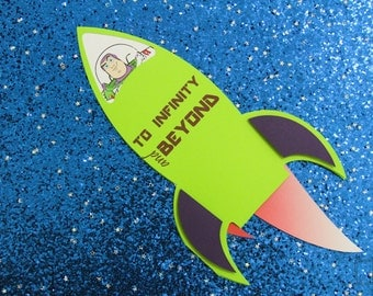 """Buzz Lightyear Invitations - """"To Infinity & Beyond!"""" Rocket  - Toy Story Invitations - Birthday - Custom Order Available - 10/pack"""