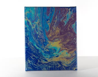 Earthen Pour - Blue, Beige, Maroon Abstract Acrylic Pour Painting