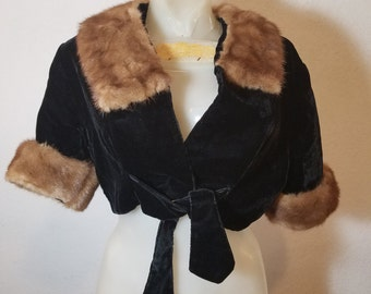FREE  SHIPPING  1950 Velvet Fur Jacket