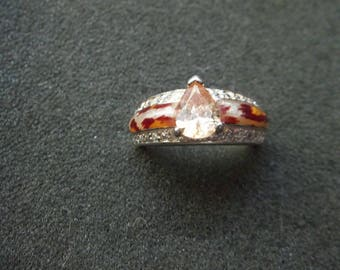 Vintage 925 Sterling Silver ring with gorgeous stone, size  8,  6.7 grams