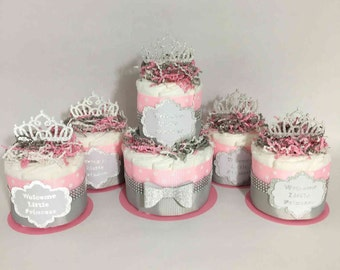 Welcome Little Princess Diaper Cake Centerpiece Set, Princess Themed Baby Shower, Girl Baby Shower