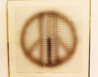Mid Century Modern Paul Maxwell Peace Sign Cast Paper Textured Art 13/150 1980