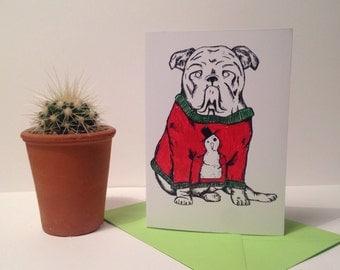 A6 Bulldog Christmas Card - greetings card - christmas card - dog lover - bulldog card - illustration - art