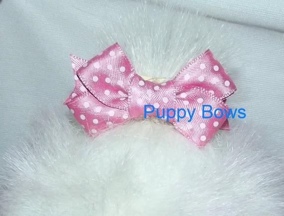 "Puppy Bows ~Pink polka dots 2"" dog hair pet comb clip barrette ~Usa seller"