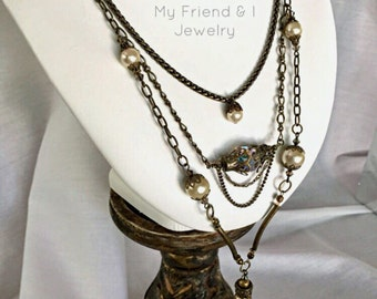 Boho Gypsy Necklace One Of A Kind Multi Brass Chains Antique Pearls Swarovski Crystal Vintage Medieval Festival LN227