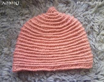 Orange Viking cap for child or teenager, naalbinding
