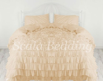 King Waterfall 1 Piece Ruffle Duvet Cover 1000 TC Egyptian Cotton Choose Color