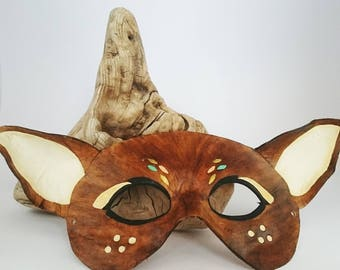 Leather deer mask leather fawn mask animal mask masquerade mask