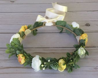 Yellow Ivory Flower Crown, Yellow Flower Girl Flower Crown, Summer Wedding, Lush Greenery Flower Crown, Yellow Leafy Crown, Photo Shoot Prop