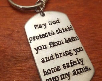 Police Prayer key chain-Protect and shield you from harm-Police officer gift-Fireman gift-Fireman prayer key chain-Fireman prayer