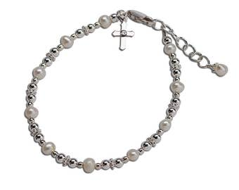 Sterling Silver First Communion Bracelet with Freshwater Pearls and Cross Charm with Gift Box for First Communion Gift for Girls (017)