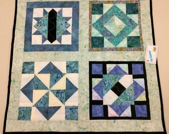 Quilted Tabletopper, Heat Resistant Quilt Decor in Teal, Blue, Green & Cream, Elegant Table, Gift for Mom, Quiltsy Handmade