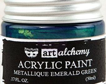 Finnabair Art Alchemy Metallique Prima Metallic Acrylic Paint 1.7 oz  EMERALD GREEN #963170