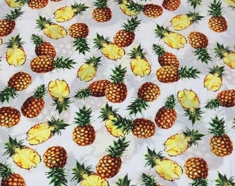 """SALE!!! Mother's Day, 1m-Cotton fabric, White cotton fabric, Printed pineapple fabric  - 56""""(142cm) Wide"""