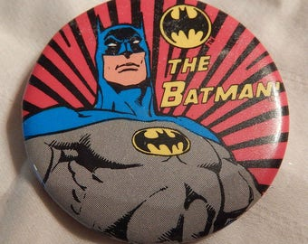 1983 Batman button fan wear DC Comics comic book superhero themed pinback vintage original cartoon Dark Knight movie tv character retro 80's