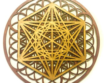 Metatron Cube Flower of Life Multi Layer Mandala Laser Cut Wood Art