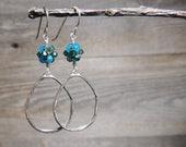 Mom Gift Earrings, Earrings For Her, Teal Earrings, Sterling Silver, Long Earrings, Hoop Earrings, Dangle Earrings, Wife Birthday
