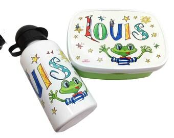 Children's Breakfast-frog, lunchbox and drinking bottle