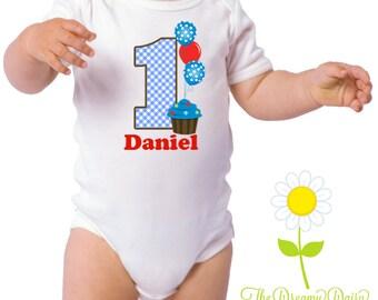 Cupcake Birthday Shirt for Boys - Personalized Cupcake Birthday Outfit - Birthday Bodysuit or T-Shirt - Custom Baby Boy One Piece