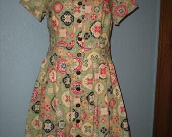 Vintage Handmade Cotton Shirt Dress Size 10 Pleated Skirt Striking Geometric Floral Pattern