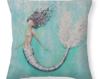 Mermaid decorative teal throw  pillow,  beach house decor, mermaid gift, original painting by Nancy Quiaoit at NancyQart