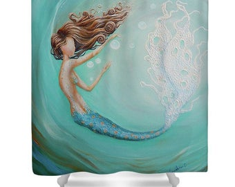mermaid shower curtain, teal aqua bathroom mermaid curtain, mermaid bathroom accessories, Original art by Nancy Quiaoit.