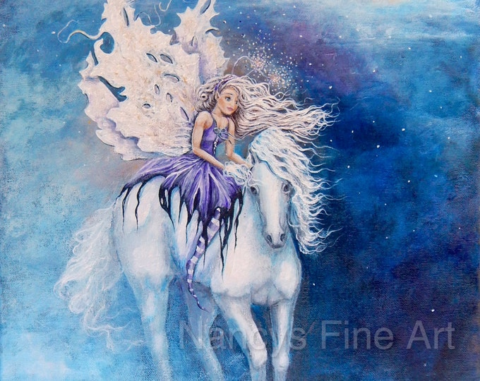 Fairy on white horse original painting, purple fairy wall art on canvas, original fantasy artwork by Nancy Quiaoit.