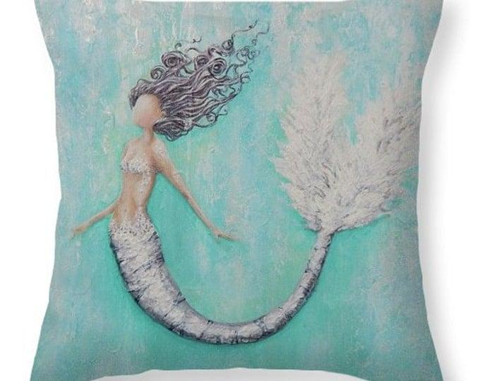 Mermaid decorative teal throw  pillow,  beach house decor, mermaid gift, original painting by Nancy Quiaoit at NancyQart
