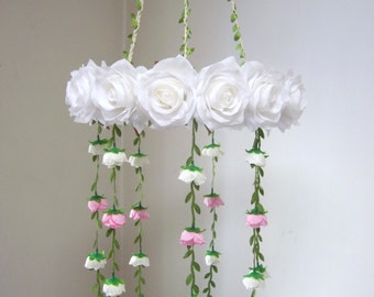 White Flower Mobile,Hanging Mobile,Baby Mobile,Girl,Boy,Woodland,White Silk Flower Rose Wedding Chandelier,Bridal Baby Shower decoration