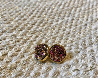 Gold / Pink Resin 14mm Stud Earrings