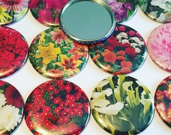 12 flower pocket mirrors - upcycled  - 2.25 inches