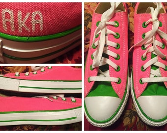 Custom painted Alpha Kappa Alpha (AKA) Converses. Designed and personalized just for you!